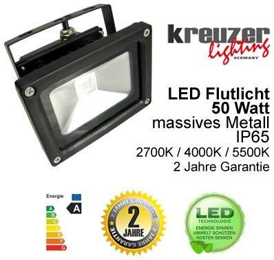 Kreuzer Lighting Eco Line 50w Led Flutlicht Strahler Daylight White 4000k Massives Metall Ip65 von kreuzer lighting