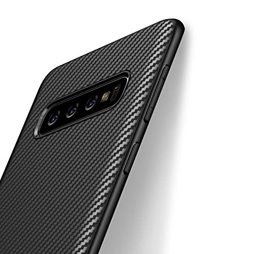 J Jecent Cover Samsung Galaxy S10 Custodia Samsung Galaxy S10 Look in Fibra di Carbonio Cover di Protezione in Morbida Silicone TPU [Anticaduta Antiscivolo AntiGraffio Antiurto] Case - Nero