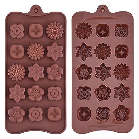 Mudder Silikon Schokoladenform Blumenförmig Backförmchen Süßigkeit Muster Jelly Ice Behälter