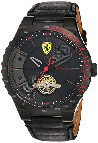 Scuderia Ferrari Men's Mechanical Hand Wind Stainless Steel and Leather Casual Watch, Color:Black (Model: 830366)