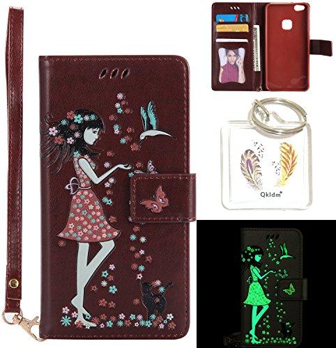 Preisvergleich Produktbild für Huawei P10 Lite PU Fluoreszenz Leder Silikon Schutzhülle Handy case Book Style Portemonnaie Design für Huawei P10 Lite + Schlüsselanhänger ( OUT (10)