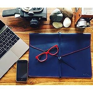 Notebooktasche/Laptoptasche, 100% Echtleder, blau