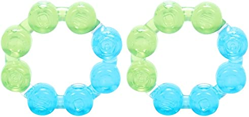 Mee Mee Multi-Textured Water Filled Teether (Green/Blue, Pack of 2)