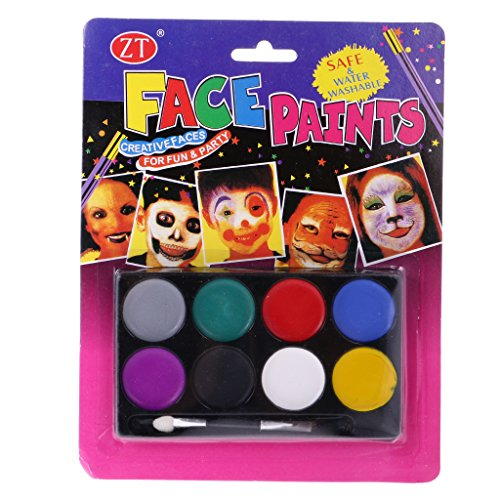 MagiDeal 8 Assorted Colors Face Body Painting Crayon Sticks Party Fancy Stage Makeup Halloween Party Pro Makeup Palette Kit #B