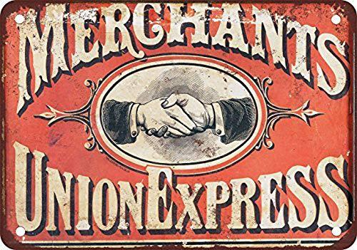 Shimeier Merchant;S Union Express Retro Vintage Tin Sign Coffee House Business Dining Room Pub Beer 20 cm x 30 cm -