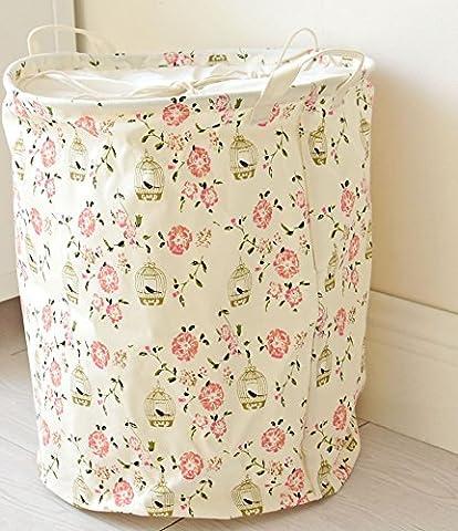 Dushow Fleur Sale Vêtements Panier grand Plat Chiffon de coton et lin Art Panier à linge Vêtements de jouets organisation Panier à linge Linge., rose, Taille unique