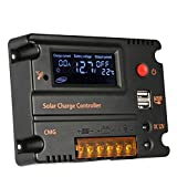 Anself 20A 12V 24V LCD Solar Charge Controller Panel Battery Regulator Auto Switch Overload Protection Temperature Compensation