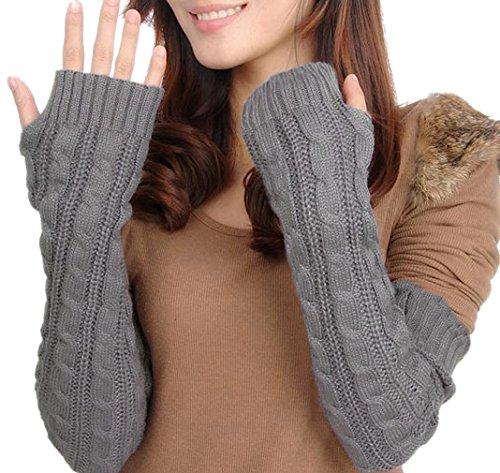 BACKSPORT Damen Mädchen Fingerlos Armstulpen Handschuhe gestrickt Lang - 3