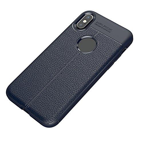 Apple iPhone X Cover, Tianqin Coperture Antiurto Ultra Sottile Cover Protettiva in Silicone Alloggiamento Fibra Carbonio Durevole Soft TPU Custodia Case per Apple iPhone X Case - Rosso Blu