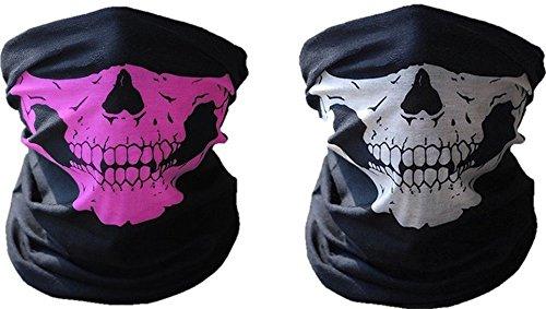 2x Premium Multifunktionstuch | Sturmmaske | Bandana | Schlauchtuch | Halstuch mit Totenkopf- Skelettmasken für Motorrad Fahrrad Ski Paintball Gamer Karneval Kostüm Skull Maske (Rosa/Weiß)