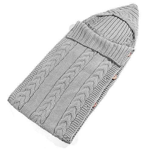 ZOEON Baby Schlafsack Gestrickt Wickeln Swaddle Decke Schlafsack (Grau)