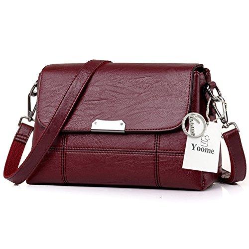 Sacchetti di borsa della borsa multifunzione molle di grande capacità Yoome Sacchetti dellannata del sacchetto di tasca per ladolescenza Sacchetto del messaggero delle donne - D.Grey Rosso