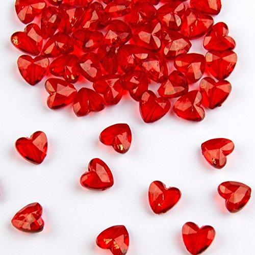 Packung Streudeko Tisch Diamanten Herz Rot 12mm Deko Konfetti (12mm Diamant-konfetti)