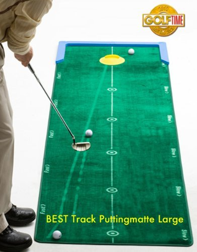 Best Track Puttingmatte Large, Putting-Cup, Mattenwischer, 2er-Set Unterlegkeile