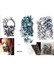 3Feuilles Skull Tattoo Arm Bras tatouage autocollants roses Tête de Mort Skull 3