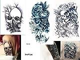 3 Bögen SKULL TATTOO Arm Oberarm Tattoo Aufkleber Rosen Totenkopf