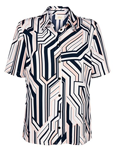 Damen Bluse mit grafischem Druck by Paola rosé/marine/weiß