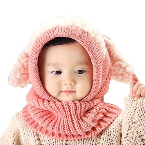 Uworth Carino Cappelli Bambina Invernali/Autunno Maglia di Lana Cappelli Bimba Paraorecchie Sciarpa Cappuccio Natale Regalo (Rosa)