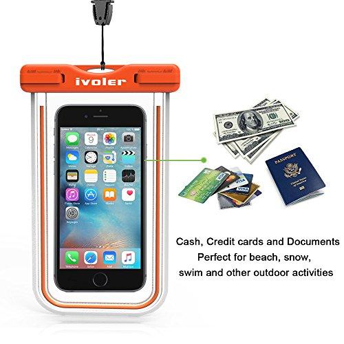 [Certifiée IPX8] Pochette étanche, iVoler Pochette Sac étanche Universel Waterproof Case Bag Housse Coque Etui pour Apple iPhone 7, 7 Plus,6s / 6, 6s Plus / 6 Plus, SE 5S 5C, Samsung Galaxy S8/S8+/S7/ Orange