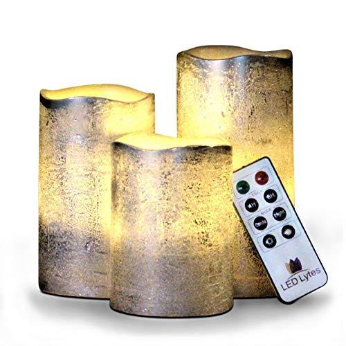 LED Lytes funzionamento a batteria senza fiamma candele set di 3 rotondo rustic argento rivestito d'avorio cera con bianco caldo fiamma tremolante led candele, auto-off timer remote contro