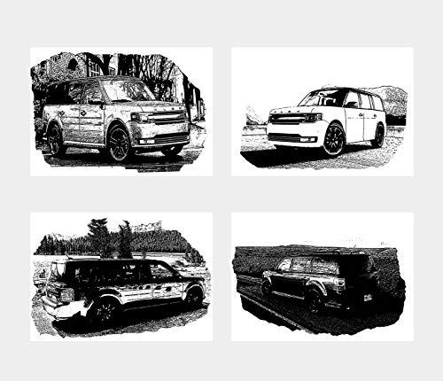 General ART Wanddekoration, Schwarz-Weiß, Illustration, Auto-Maschine, Ford Flex-Poster, 4 Stück, Größe A4 (21 x 29 cm), ungerahmt für minimalistische Autoliebhaber