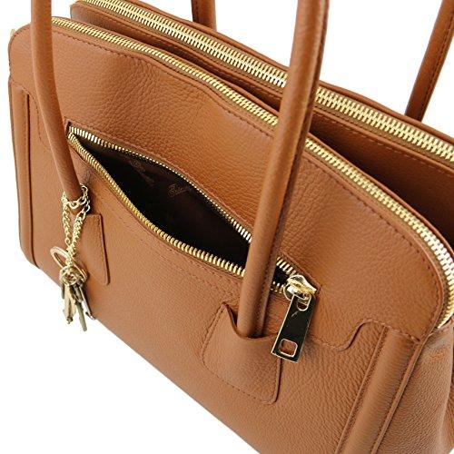 Tuscany Leather - TL KEYLUCK - Sac à main en cuir souple - TL141285 (Rouge) Cognac