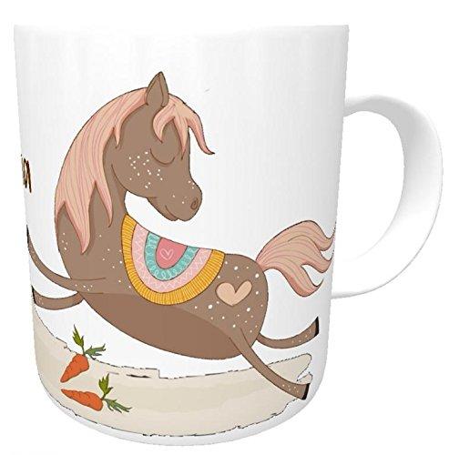 te Kindertasse Kunststofftasse Pferd mit Name - Namenstasse Reiterhof -Kindergartentasse Pferdefans (Personalisierte Tassen Trinken)