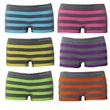 ReKoe 6er Pack Hotpants Slips Unterhose Tanga Panty Unterwäsche dicke Streifen Grau, Größe:M-L = 38/40