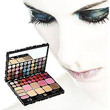 fitTek 72 Colores Conjunto Leopardo Paleta de Sombra de Ojos Labios Colorete Maquillaje + 4 Cepillos