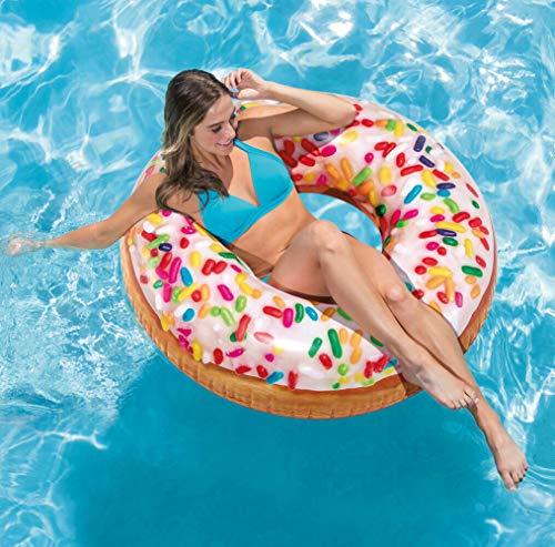 Intex 56263 Donut Schwimmring Rainbow Pool Lounge Insel Luftmatratze Ø 114 cm (Original & Robust)