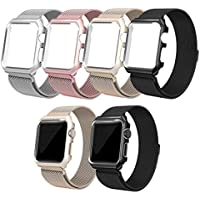 qualiquipment Milanaise Armband mit Aluminium Hülle kompatibel mit Apple Watch 44mm/40mm 42mm/38mm, iWatch Metall Band Magnet Loop mit Schutzhülle Case Bumper Zubehör Series 4 3 2 1