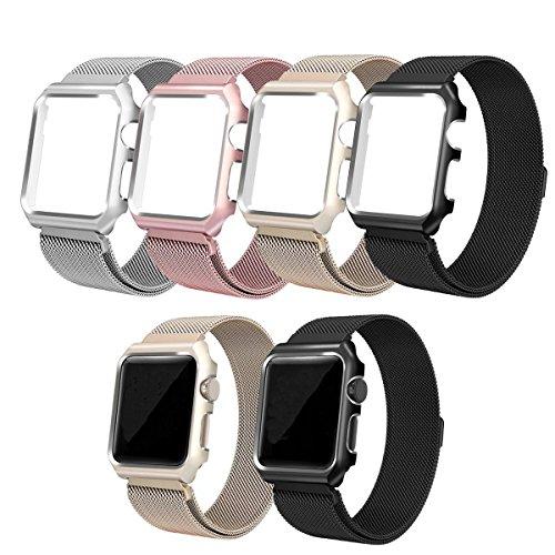 qualiquipment Apple Watch Milanaise Armband mit Aluminium Hülle 44mm/40mm 42mm/38mm, iWatch Metall Band Strap Magnet Loop mit Schutzhülle Aluminum Case Bumper Zubehör Series4/3/2/1 (Schwarz, 42mm)