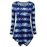 BHYDRY Frauen O-Ausschnitt Shirt Print Langarm-Lose Tops T-Shirt Bluse(L,Blau)