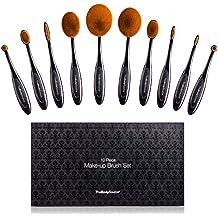 Kit de Brochas de Maquillaje Profesionales de 10Piezas - Incluye Brochas de Contouring, Base, Corrector, Labios, Delineador de Ojos y Colorete