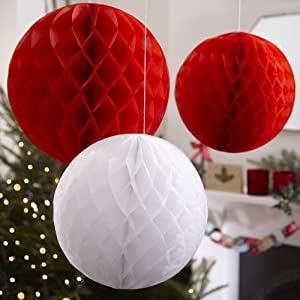 Vintage Noel Red & White Honeycomb Christmas Balls By Ginger Ray