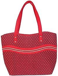 Womaniya Women's Shoulder Bag (Red-Handicraft Jute Bag)