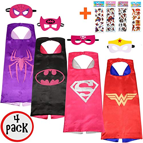 squishybean 4 Sets KINDER Cape und Masken/Supergirl/Batgirl Spidergirl Wonder Woman Kostüme Super Hero Kleid bis super-girl bat-girl spider-girl Wonder Woman Kostüme Avengers Super Girl Bat Girl Spider Girl Wonder Woman Fancy Kleid