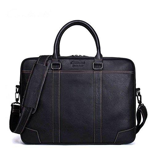 DNSJB Mens Messenger Bag 15,6 Zoll Vintage echtes Leder Aktentasche große Satchel Umhängetasche Computer Laptop Handtasche (Color : Black) -