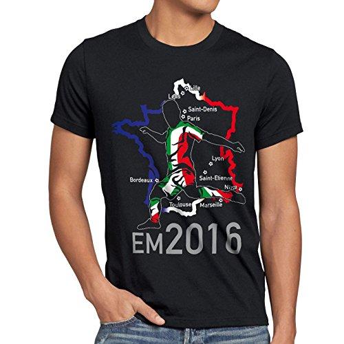 style3 EM 2016 Italien Fan Herren T-Shirt Frankreich alle Spielorte Schwarz