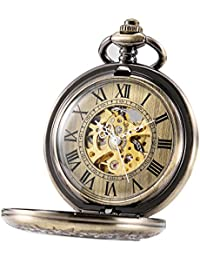 treeweto automático mecánico reloj de bolsillo media Hunter Caso Steampunk esqueleto Dial para hombres mujeres