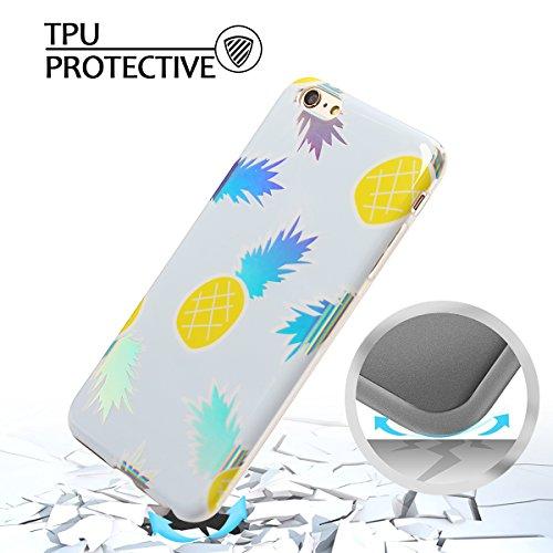 Coque iPhone 6 Plus , Etui Housse en Silicone Gel TPU de Protection Case Cover Souple Flexible Ultra Mince avec Feuilles et Flamingo motif Mode Dessin pour Apple iPhone 6 Plus (4.7 pouces) Enveloppe C Bleu