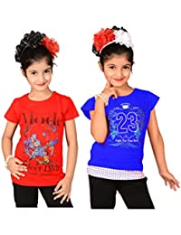 Sweet Angel red & blue color round neck combo tops for girls