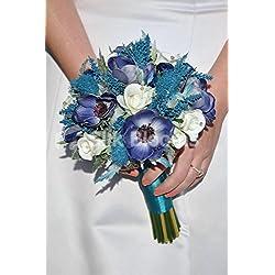 Vintage azul marino anémonas ramo de novia w/turquesa Heather y mar Holly Thistles