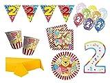 XXL Party Deko Set 2.Geburtstag Winnie Pooh Kindergeburtstag für 16 Personen Mädchen Junge