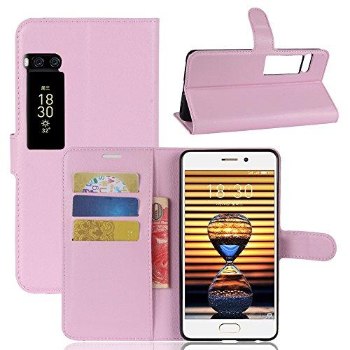 Kihying Hülle für Meizu Pro 7 Hülle Schutzhülle PU Leder Flip Wallet Fashion Geschäft HandyHülle (Pink - JFC08)