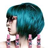 Crazy Color Semi-Permanent Colour Hair Dye 4 Pack (Peacock Blue)