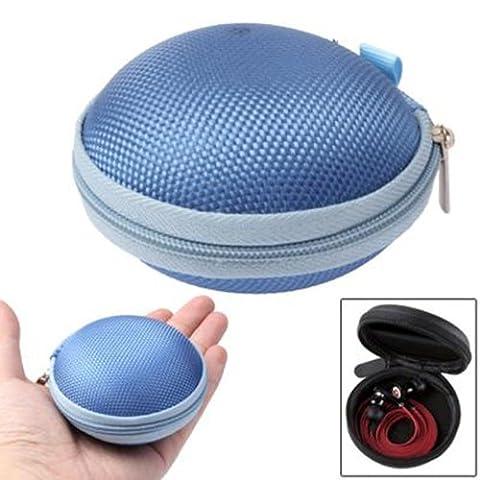 CrazyCase® Boitier pour écouteurs – Couleur Crazy Bleu – solution pratique pour transporter vos écouteurs / écouteurs intra-auriculaire – compatible avec Apple EarPods, Panasonic RP-HJE120E1K, Philips SHE8500, SHE9000, SHE600, Monster Beats In-Earphones, Creative EP-630, Sennheiser CX 200 Street2, Bose IE2 Audio, Sony MDR-E 818 LP, CSL 610 et beaucoup plus