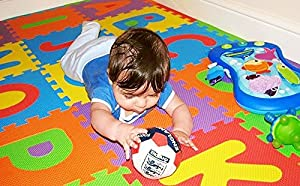 Soft Baby Children Play Mat Gym Foam Alphabet 26 Piece Each Tile 31.5 cm x 31.5 cm / 1cm Thick with Pattern Textured Surface (Superior Quality) by BSL