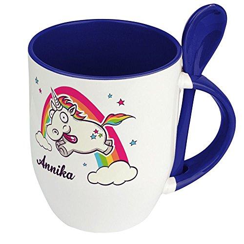 Löffeltasse mit Namen Annika - Motiv Verrücktes Einhorn - Namenstasse, Kaffeebecher, Mug, Becher, Kaffeetasse - Farbe Blau 4
