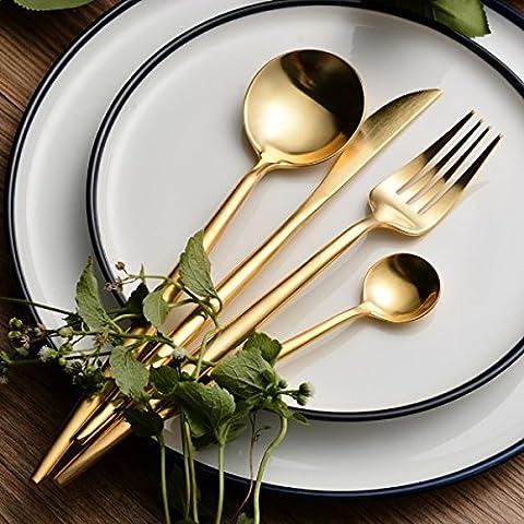 LEKOCH 4-Piece 18/10 Stainless Steel Flatware Including Fork Spoons Knife Cutlery Set (Golden)